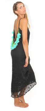 Lana Long Dress Black with Aqua Tassels