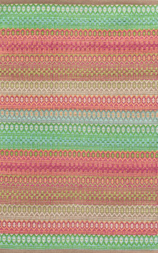 Gypsy Stripe Pink/Green Woven Cotton Rug