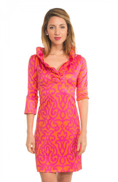 Gretchen Scott Ruffneck Jersey Dress Arabesque Orange/Pink