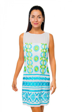 Gretchen Scott Dahlia Delight Cotton Embroidered Dress Turq/Lime