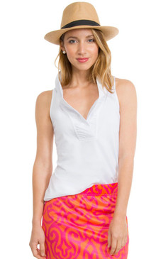 Gretchen Scott Ruffneck Jersey Top- Sleeveless- White