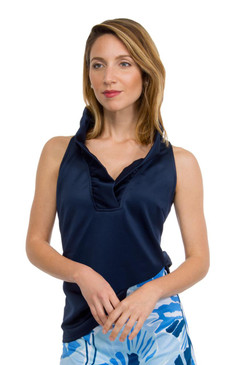 Gretchen Scott Ruffneck Jersey Top- Sleeveless- Navy