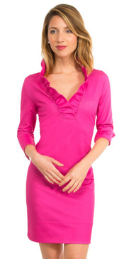 Gretchen Scott Ruffneck Jersey Dress Solid Pink