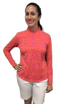 Ibkul Long Sleeve Cooling Mock Neck Top | Lattice Pink/Orange