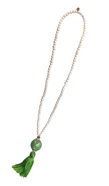 Handpainted Tassel Necklace - Green Flamingo