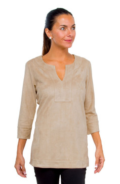 Gretchen Scott Suede Split Neck Tunic Beige