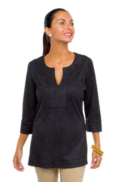 Gretchen Scott Suede Split Neck Tunic Black