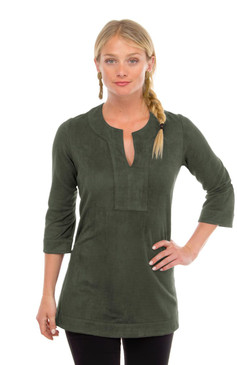 Gretchen Scott Suede Split Neck Tunic Olive