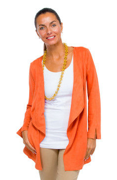Gretchen Scott Waterfall Suede Cardigan Orange