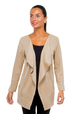 Gretchen Scott Waterfall Suede Cardigan Beige