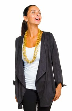 Gretchen Scott Waterfall Suede Cardigan Black