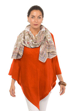 Gretchen Scott Cashmere Poncho Orange