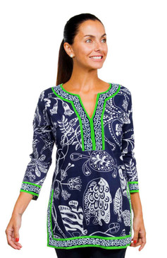 Gretchen Scott Split Neck Tunic Sea of Love Navy