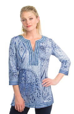 Gretchen Scott Split Neck Tunic Grand Bazaar Blue