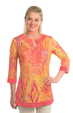 Gretchen Scott Split Neck Tunic Grand Bazaar Coral