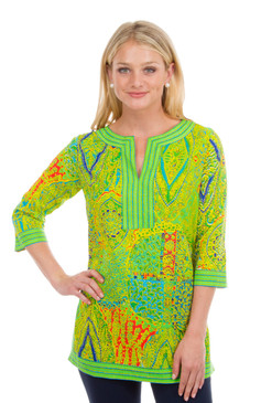 Gretchen Scott Split Neck Tunic Grand Bazaar Green