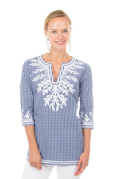 Gretchen Scott Gingham Reef Tunic Navy