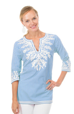 Gretchen Scott Gingham Reef Tunic Periwinkle