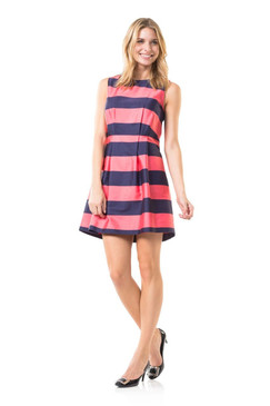 Stripes on Second Navy/Coral Flare Dress