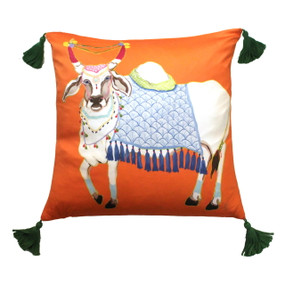 Silk Painted Square Pillow | Cow on Orange