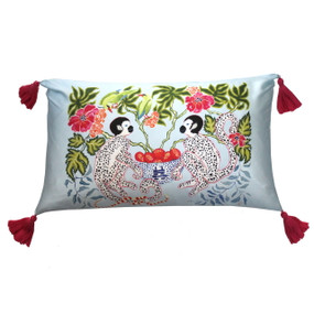Silk Painted Rectangle Pillow | Monkeys on Light Blue