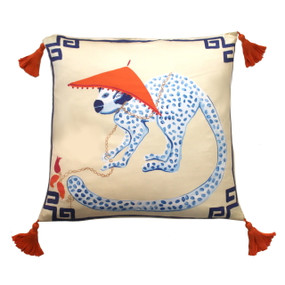 Silk Painted Square Pillow | Monkey Looking Left