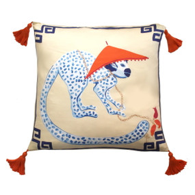 Silk Painted Square Pillow | Monkey Looking Right