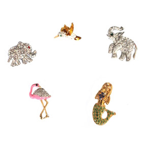 Rhinestone Pins (elephant, hummingbird, flamingo, mermaid)