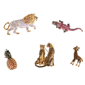 Rhinestone Pins (lion, alligator, pineapple, jaguars, giraffe)