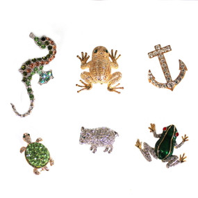 Rhinestone Pins (seahorse, frogs, anchor, turtle, pig)