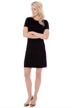 Carter Solid Ponte Dress | Black |  Persifor