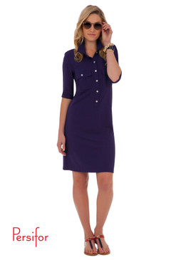Winpenny Ponte Dress | Solid Navy |  Persifor