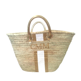 Create Your Own Personalized Hand Painted Straw Beach Tote  with Gold Handle