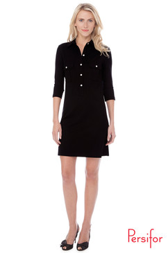 Winpenny Ponte Dress | Solid Black |  Persifor
