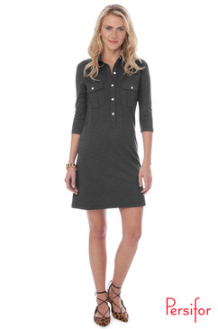 Winpenny Ponte Dress | Solid Graphite |  Persifor