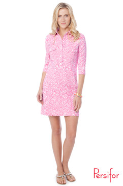 Winpenny Dress | Spot in Flamingo |  Persifor