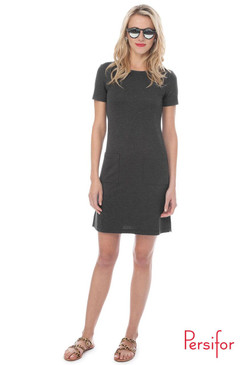 Carter Solid Ponte Dress  | Graphite | Persifor