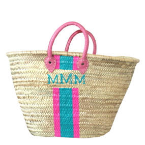 Create Your Own Personalized Hand Painted Straw Beach Tote  with Pink Handle