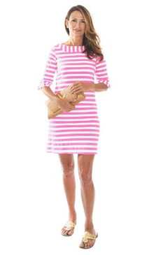 Yacht Club Shift  | White+Pink Awning Stripes | Sailor-Sailor