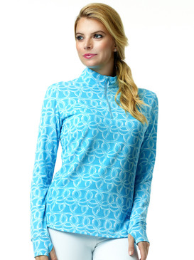 Ibkul Long Sleeve Cooling Mock Neck Top | Shilia Blue