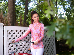 Ibkul Long Sleeve Cooling Mock Neck Top | Alisa Light Pink