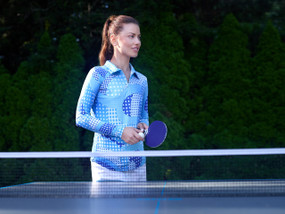 Ibkul Long Sleeve Cooling Polo | Neon Dots Blue