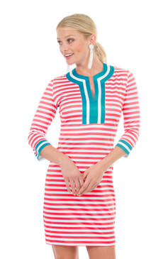 Gretchen Scott Split Neck Dress Coral/Turquoise Stripe