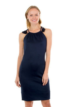 Gretchen Scott Tassel Tie Dress Navy