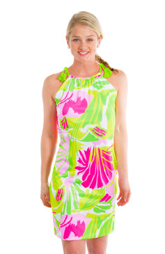 Gretchen Scott Tassel Tie Dress Pink/Green Frond Frenzy