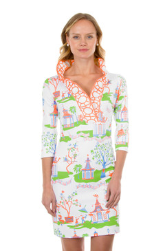 Gretchen Scott Ruffneck Jersey Dress Pagoda Paradise Coral/Blue