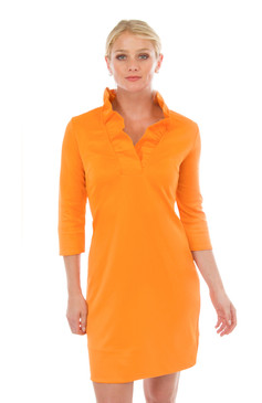 Gretchen Scott Ruffneck Jersey Dress Solid Orange