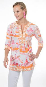 Gretchen Scott Split Neck Tunic Pagoda Paradise Pink/Orange