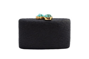 Jen Clutch with Turquoise Stone | Black
