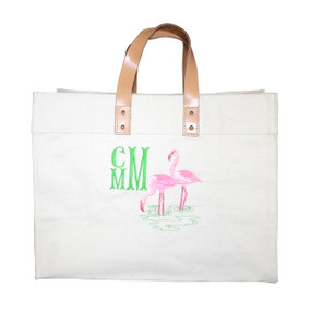 Embroidered Flamingo Canvas Bag Personalized